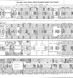 plate 4 deck plans for poop deck first class  [ 1500 x 793 Pixel ]