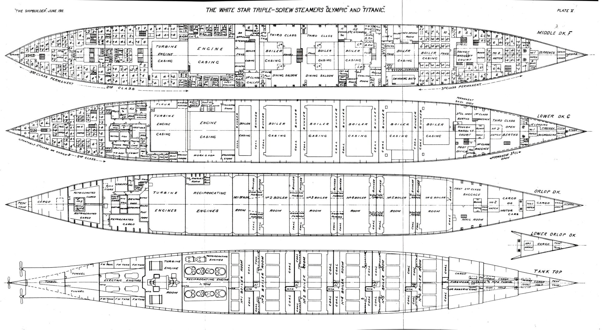 hight resolution of plate 5 deck plans middle deck f lower deck g orlop deck