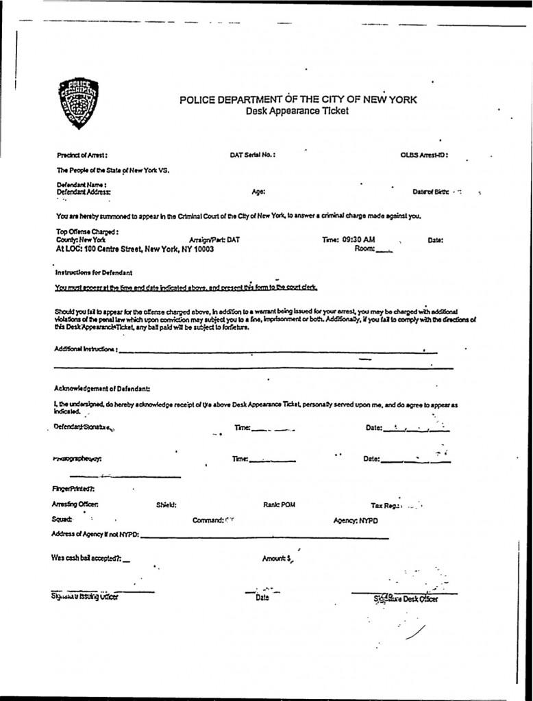 New York City Desk Appearance Ticket DAT Information  New York Criminal Defense Blawg