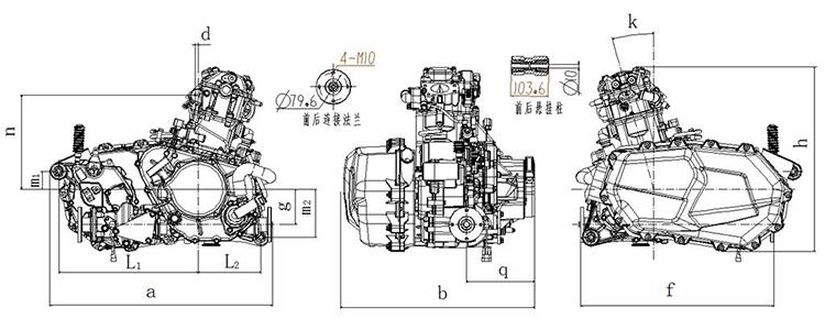 China 600CC 4 Stroke Single Cylinder Motorcycle Engine