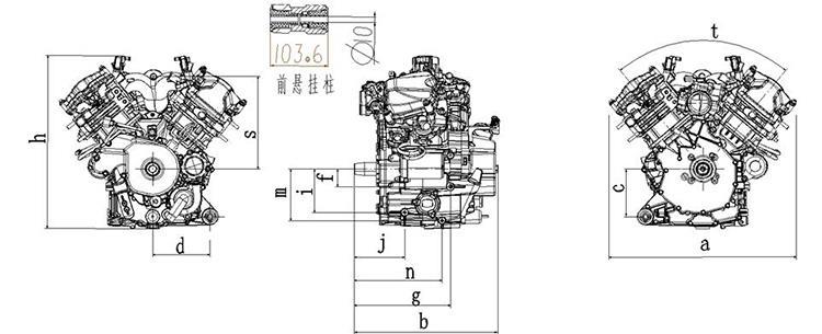 China 800CC V-twin Cylinders Snowmotorcycle ATV UTV Engine