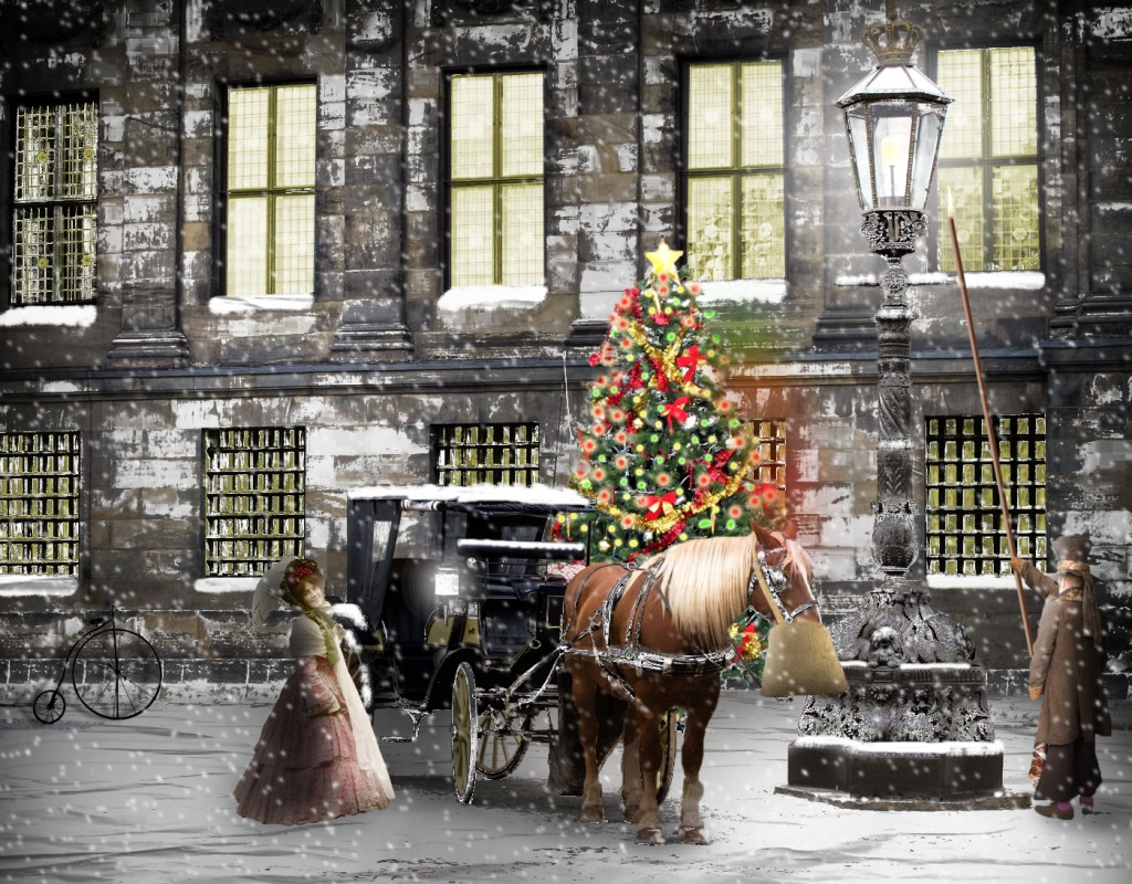 Wallpaper Falling Snow Victorian Christmas Card Gkbgraphics