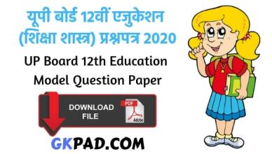 UP Board 12th Education Paper
