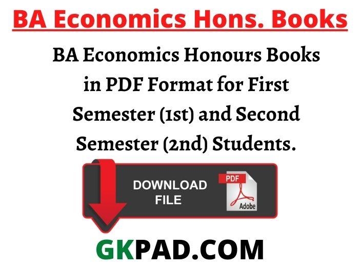 BA Economics Honours Books