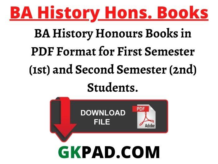 BA History Honours Books