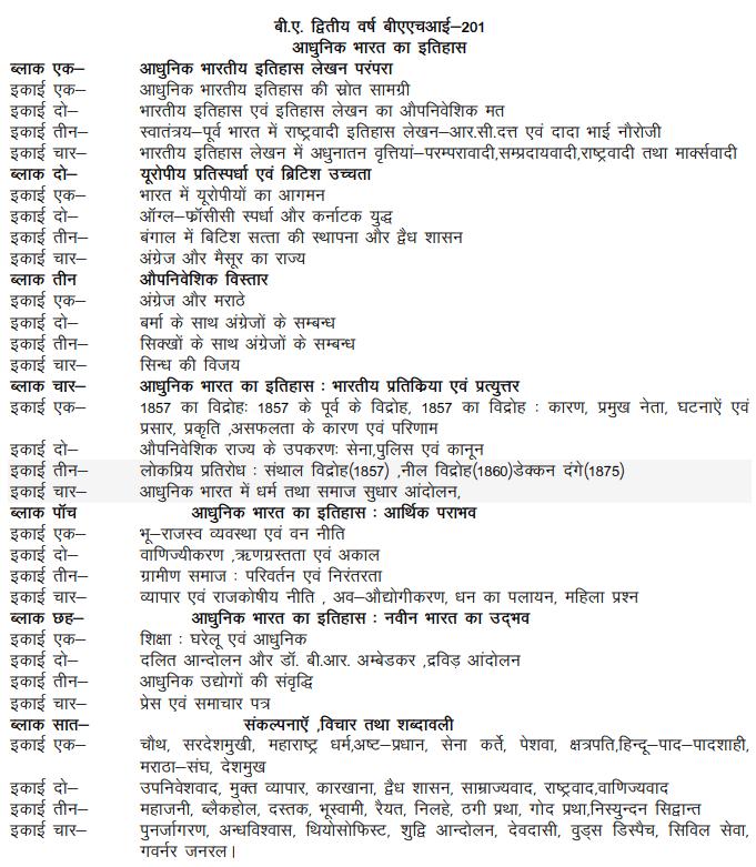 ba second year history syllabus in hindi