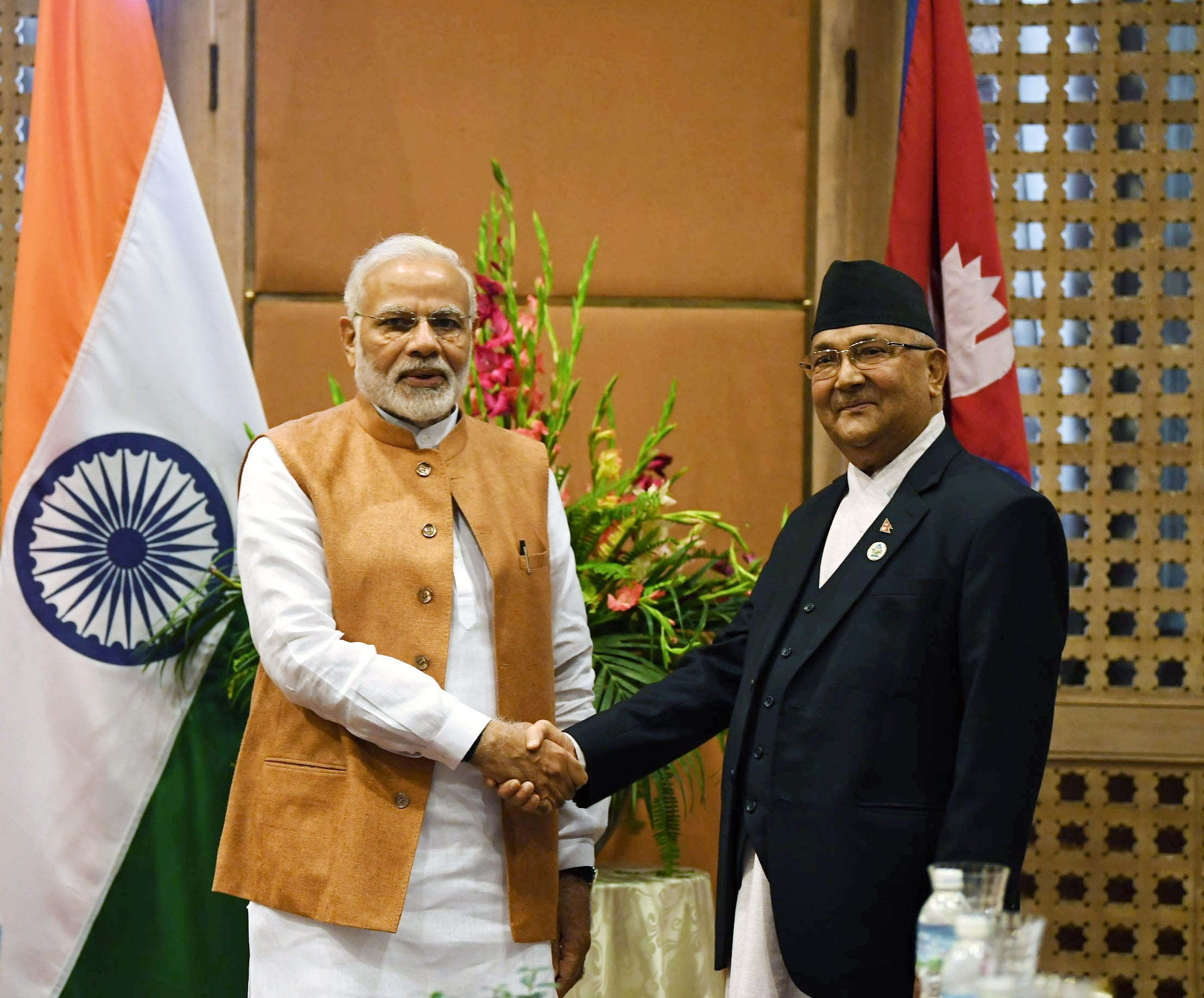 Modi with Oli At 4th Bimstec Summit