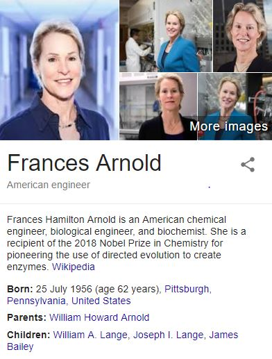 Frances H. Arnold Nobel Prize winner 2018