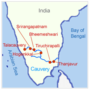 Cauvery River Map Cauvery River   General Knowledge Today Cauvery River Map