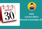 Current affairs- General knowledge 30 August 2018