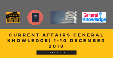 Current affairs General knowledge| 1-10 December 2018