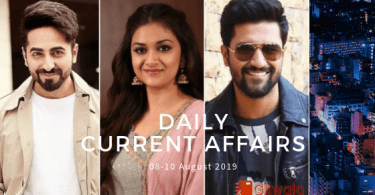 Daily Current Affairs Questions 08-10 August 2019