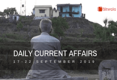 Daily Current Affairs GK Questions 17-22 September 2019
