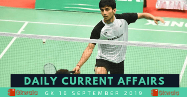 Daily Current Affairs GK 16 September 2019