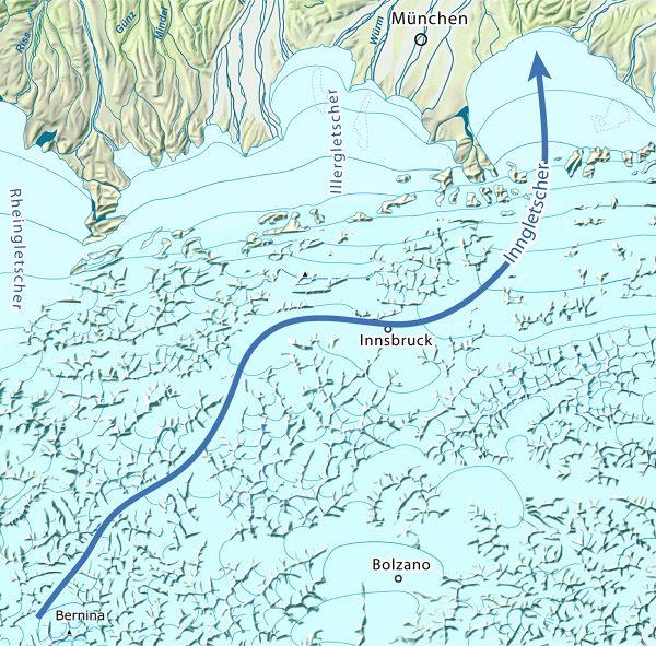 Extension du glacier de l'Inn