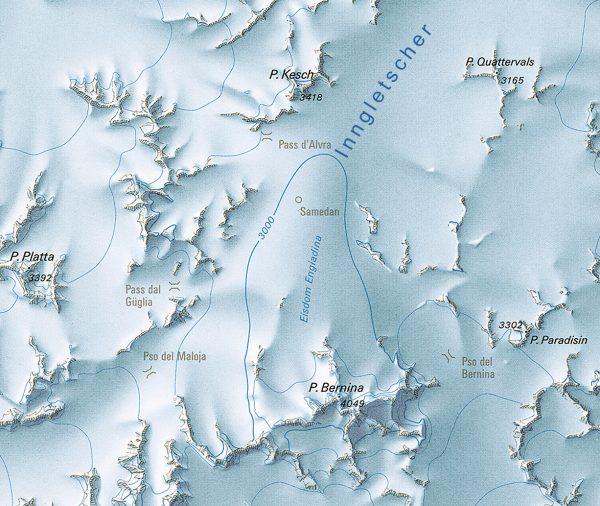 Ice dome de la Haute Engadine, d'après R. Florineth (1998)