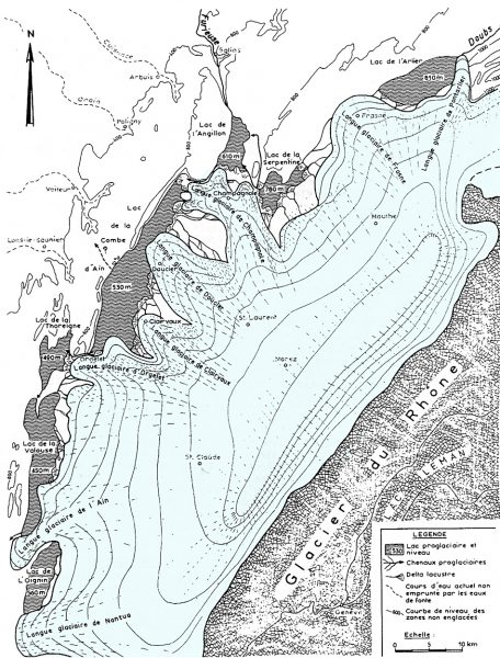 Paléogéographie calotte jurassienne au dernier maximum glaciaire (Campy, 1984)