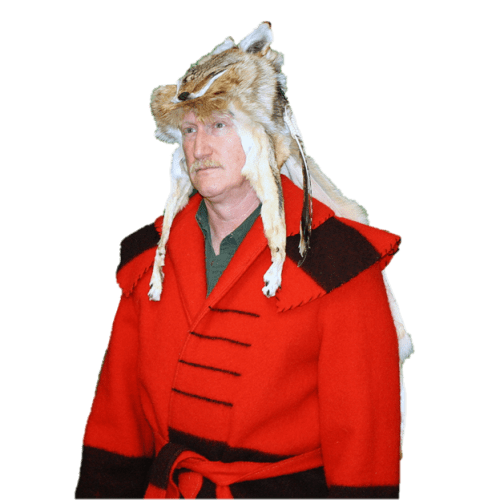 Glacier Wear  Coyote Mountain Man Style Fur Hat With Cape