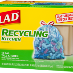 Glad Tall Kitchen Drawstring Trash Bags Wall Table For Blue Recycling Bags: | Glad®