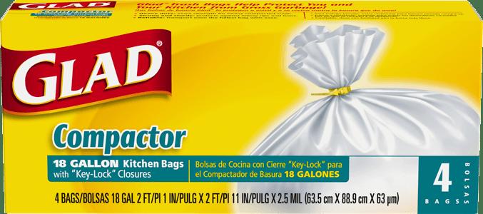 glad kitchen bags build cabinets trash compactor