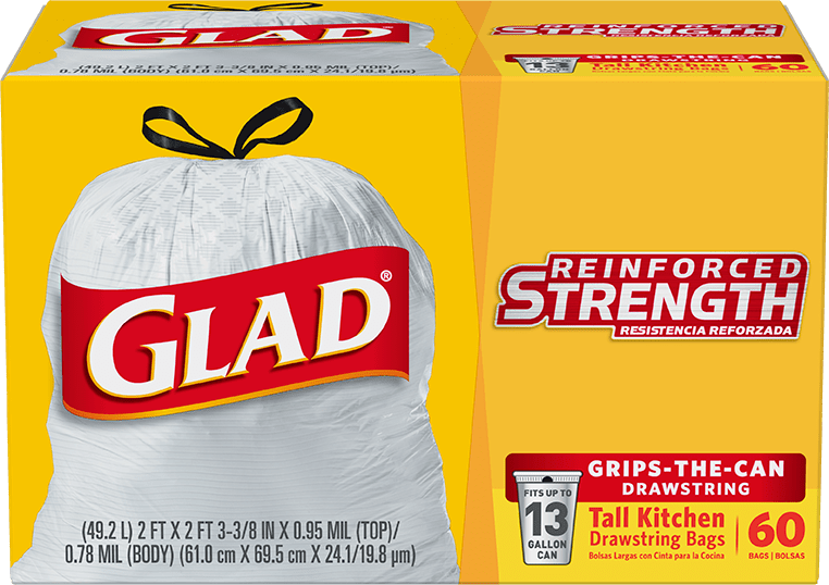 glad tall kitchen drawstring trash bags omega cabinets with drawstrings | glad®