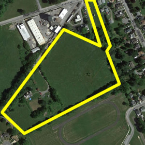 Approximate outline of Mill Run Property where 26 homes are planned.