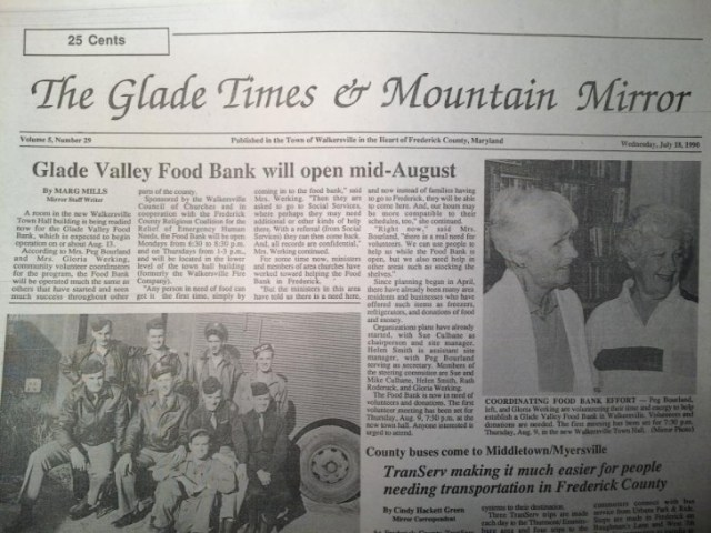 Front page of the former Glade Times and Mountain Mirror weekly paper for Wednesday, July 18, 1990.