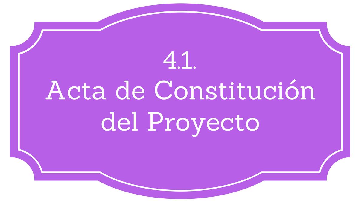 Acta de constitución PMBOK