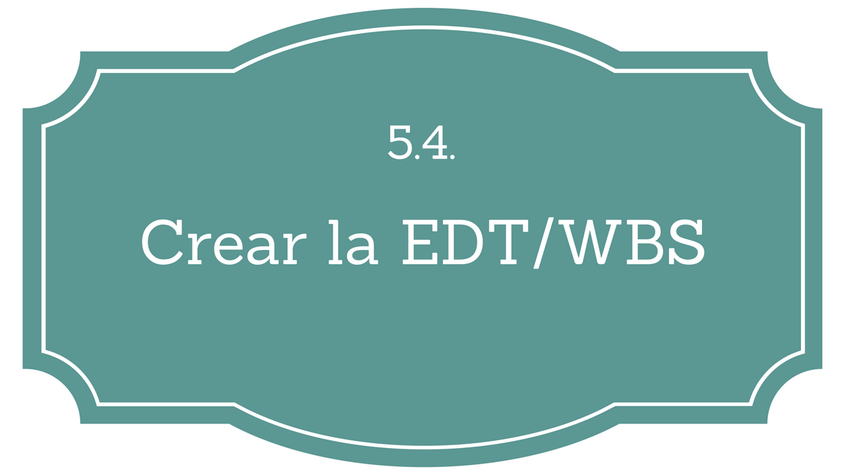 5.4. Crear la EDT/WBS - Project Management | Gladys Gbegnedji