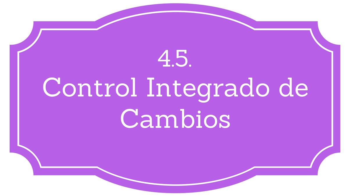 4.5. Realizar el Control Integrado de Cambios - Project Management ...