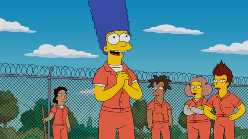 THE SIMPSONS:  After getting arrested for letting Bart go to the park unsupervised, Marge serves time only to realize that prison is a welcome break from the demands of her life as a mom and wife in the ÒOrange is the New YellowÓ season finale episode of THE SIMPSONS airing Sunday, May 22 (8:00-8:30 PM ET/PT) on FOX.   THE SIMPSONS ª and  © 2016 TCFFC ALL RIGHTS RESERVED.  CR:FOX