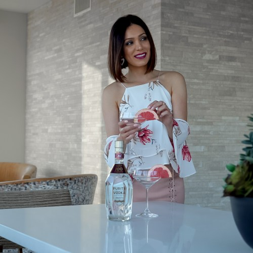 grapefruit martini made with purity vodka by fashion blogger Maryam Nia