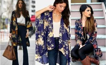 look de inverno com o kimono floral