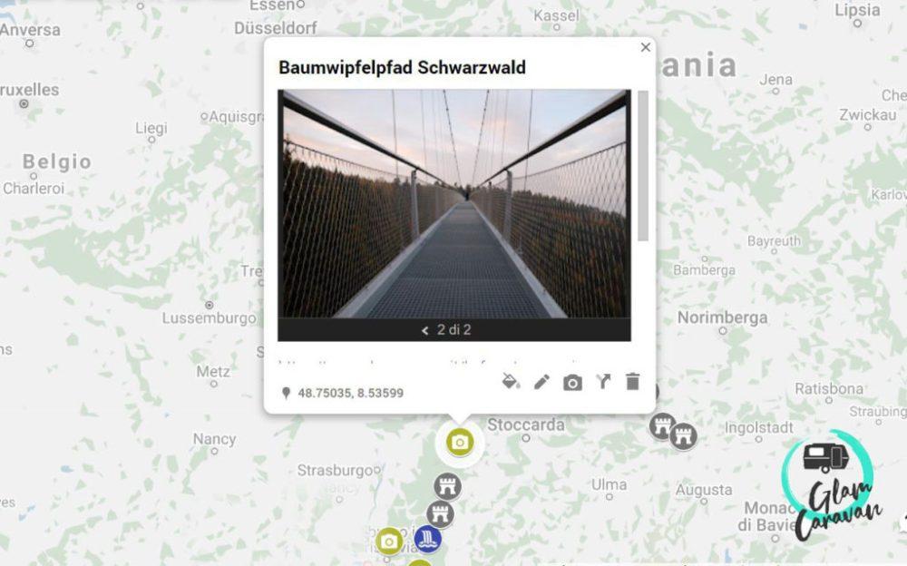 Mappa dei luoghi da visitare