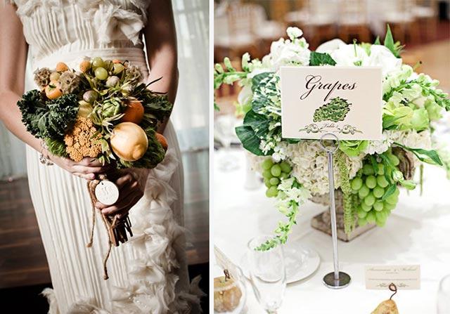 bouquet e centrotavola tema vino