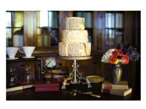 Wedding cake tema libro- Glam Events