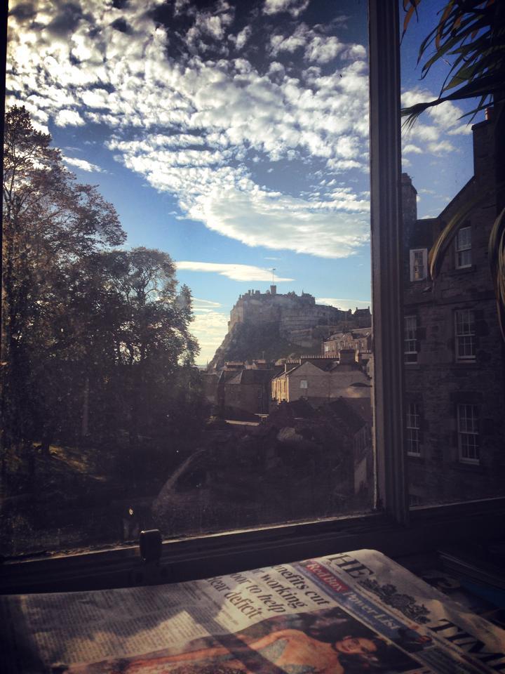 Edinburgh Castle through the window of the Elephant Room Tea House