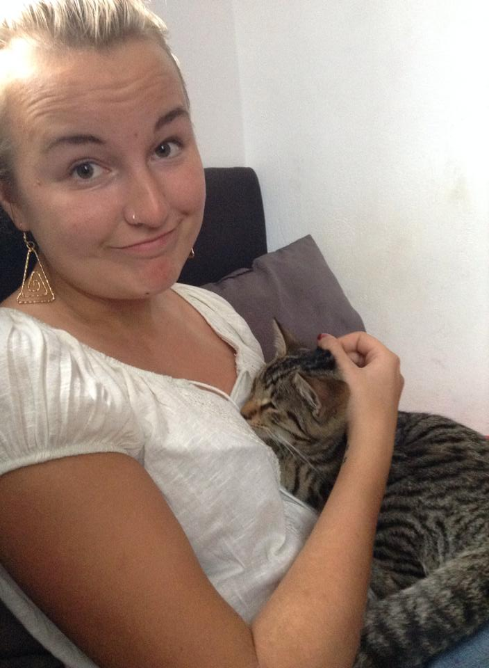 Me cuddling a cat of my last Couchsurfing host