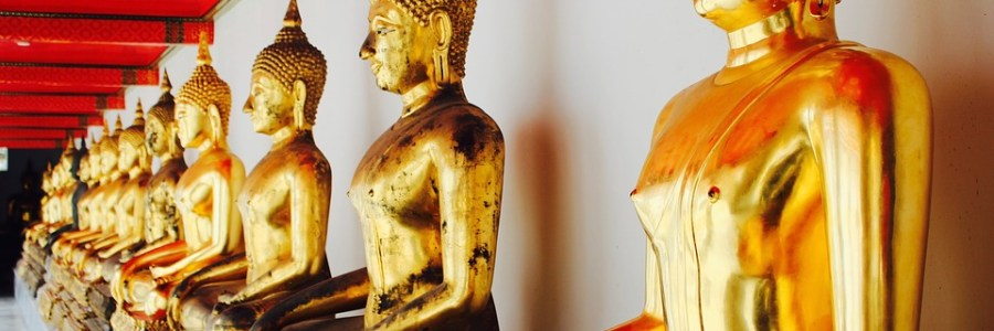Buddhist monks meditation statues