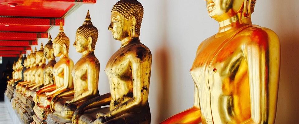 Buddhist monks meditation statues