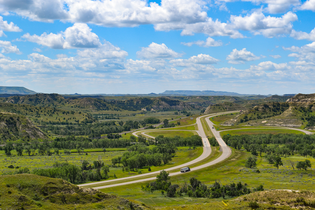 View of the highway from the South Unit of Theodore Roosevelt National Park