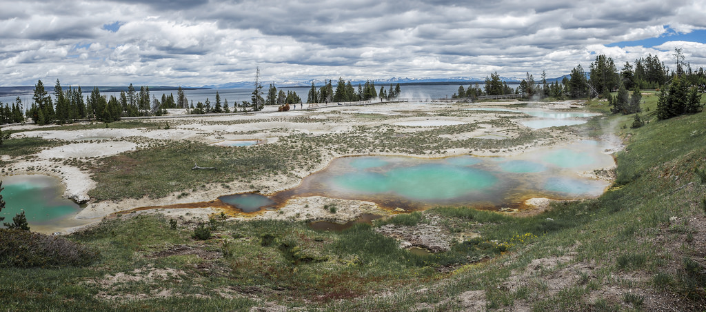 West Thumb Geyser Basin geothermal features in Yellowstone