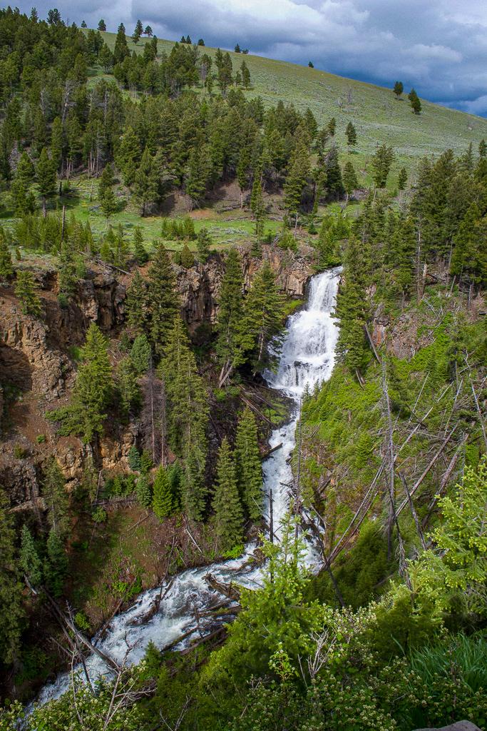 Undine Falls waterfall in Yellowstone National Park