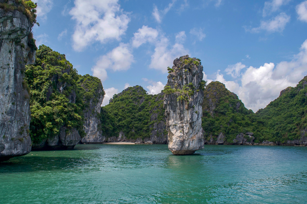 Limestone karsts in Halong Bay, Cat Ba Ventures Day Tour