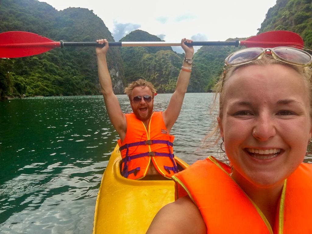 Kayaking in Halong Bay, Cat Ba Ventures day tour