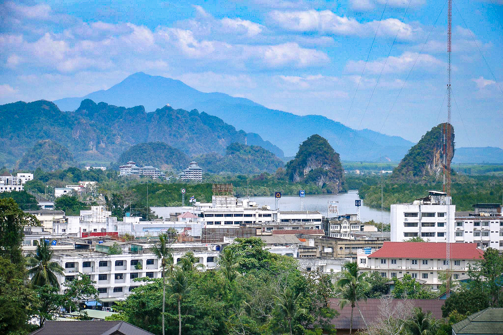 Krabi Town, with limestone mountains in the background