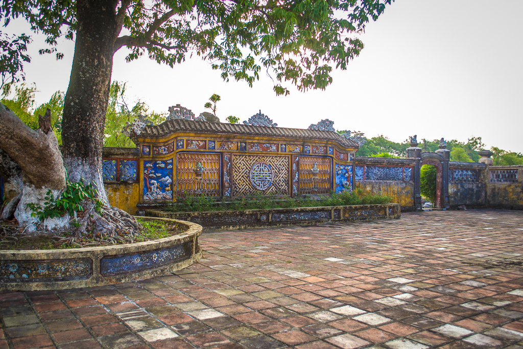 A beautifully decorated colorful wall in Hue's Imperial City