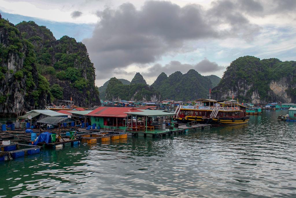 Floating fishing village near Halong Bay