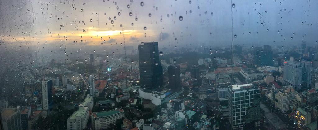 Bitexco Sky Bar view of Ho Chi Minh City on a rainy day