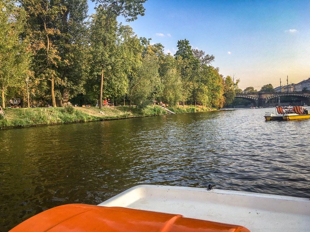 Paddboating on the Vltava River in Prague is an adventurous activity for your 4 day Prague Itinerary